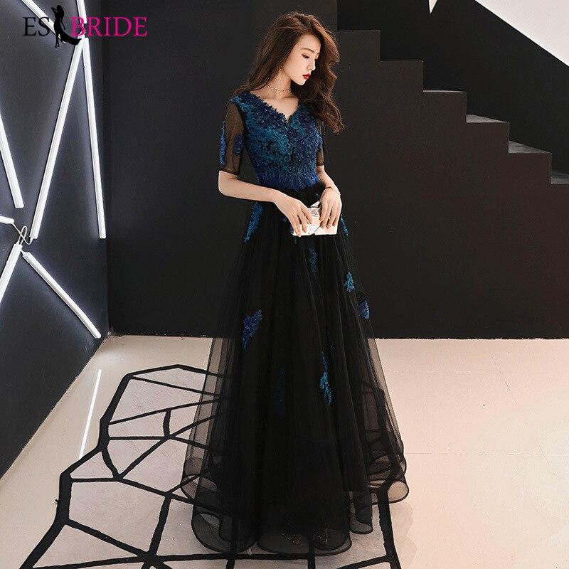 Elegant Lace Appliques   Evening     Dresses   Long V-Neck Half Sleeve Sexy Women   Evening   Gowns Robe De Soiree 2019 ES2819
