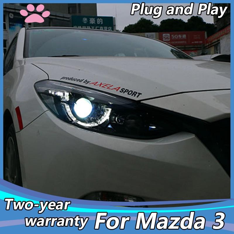 Car Styling Head Lamp case for Mazda3 mazda 3 Axela Headlights 2014 2015 2016 LED Headlight DRL Lens Double Beam H7 Bi Xenon HID Car Light Assembly    - AliExpress