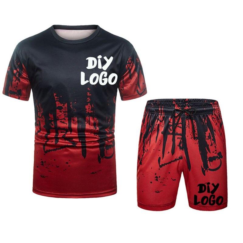 Custom Your Logo Tracksuit Men 3D Clothing Sportswear 2 Piece Set Fitness Summer Print Shorts + T Shirt Men's Suit