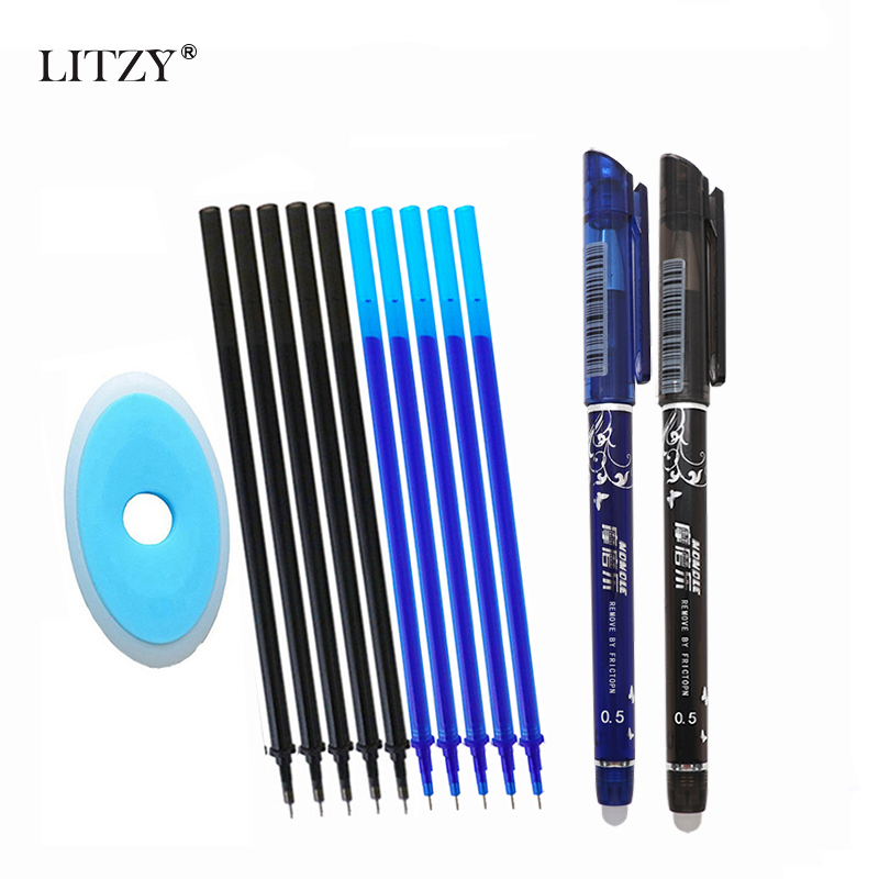 13/12Pcs/Set Gel Pen 0.5mm Erasable Washable Handle Erasable Pen Refill Rod Blue Black Ink School Stationery Office Writing Tool