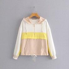 AOEMQ חדש קיץ ספורט חדר כושר מעילי סתיו לנשימה כותנה נשים חולצות מעילים עם ברדס גשם הגנת חולצות מעילי בגדים