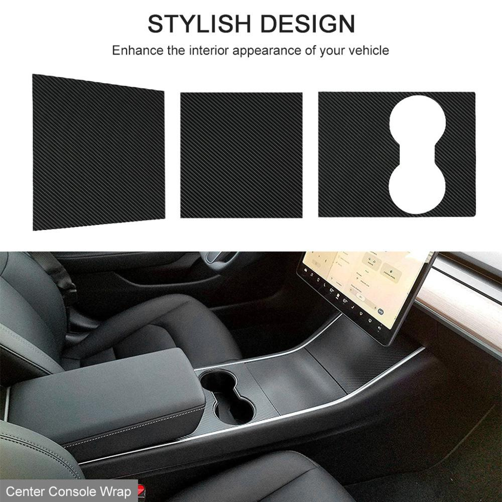 Car Center Console Wrap Kit Sticker Dashboard Matte Carbon Fiber Black For Tesla Model 3