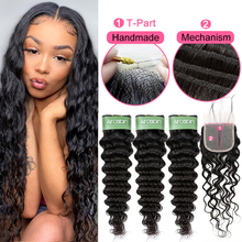 Deep Wave Bundles With Closure Human Hair T Part 1X4 HD Lace Closure 3 Bundles With Closure Hair Extensions Human Hair Brazilian