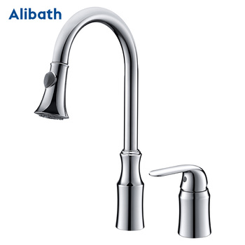 Pull Out Kitchen Faucets with Sprayer Bathroom Basin Sink 2 Spraying Modes 360° Rotating Solid Brass Water Tap.