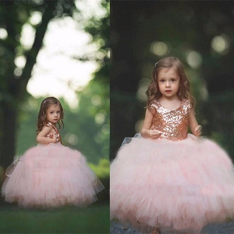 Princess   Flower     Girls     Dresses   Sequined Top and Tulle Skirt Puffy Ball Gown Birthday Communion   Dress   For Wedding