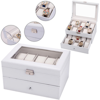 Professional Watch Box Lockable Organizer Holder for Watch Display Case with Glass Top White Jewelry Boxes Best Gift