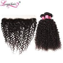 Perruque Lace Frontal wig Remy naturelle – Longqi, cheveux brésiliens bouclés, 13x4, avec Frontal, lots de 3 pièces