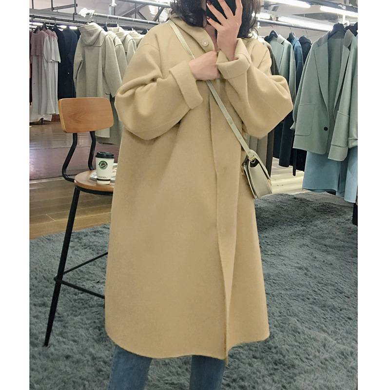 2019 зимнее повседневное Свободное длинное шерстяное пальто с капюшоном для женщин, большие размеры, однотонная черная шерстяная куртка овер