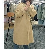 2019 Winter Casual Hooded Loose Long Wool Coat Women Plus Size Pure Color Black Woolen Oversized Jacket