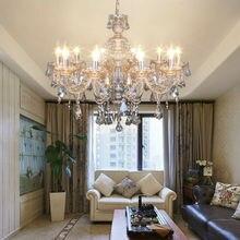 цена на Honhill Modern Chandelier Light K9 Crystal Glass Light 10/15 Arm Chandelier Pendant Lamp For Living Bedroom Kitchen Cognac Color
