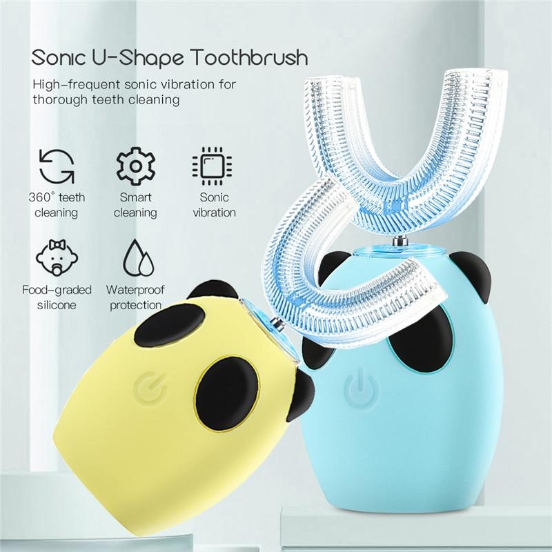 Brosse à dents électrique automatique en forme de U pour enfants de 3 à 15 ans, en Silicone, blanchiment des dents, Massage des gencives, 3 modes de nettoyage |