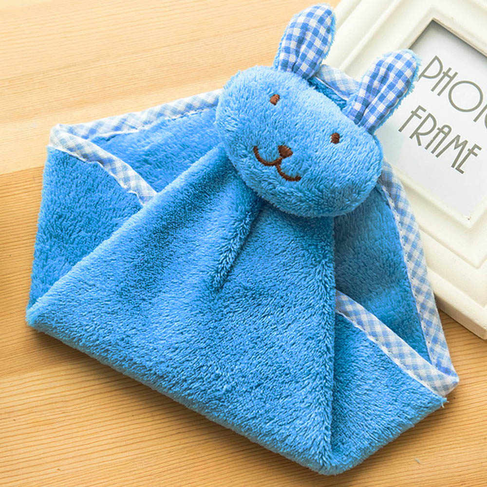 1 piezas Toalla de mano del bebé de terciopelo de Coral de dibujos animados de animales de peluche de conejo cocina suave colgante baño limpiar toalla paños niños Handker jefe