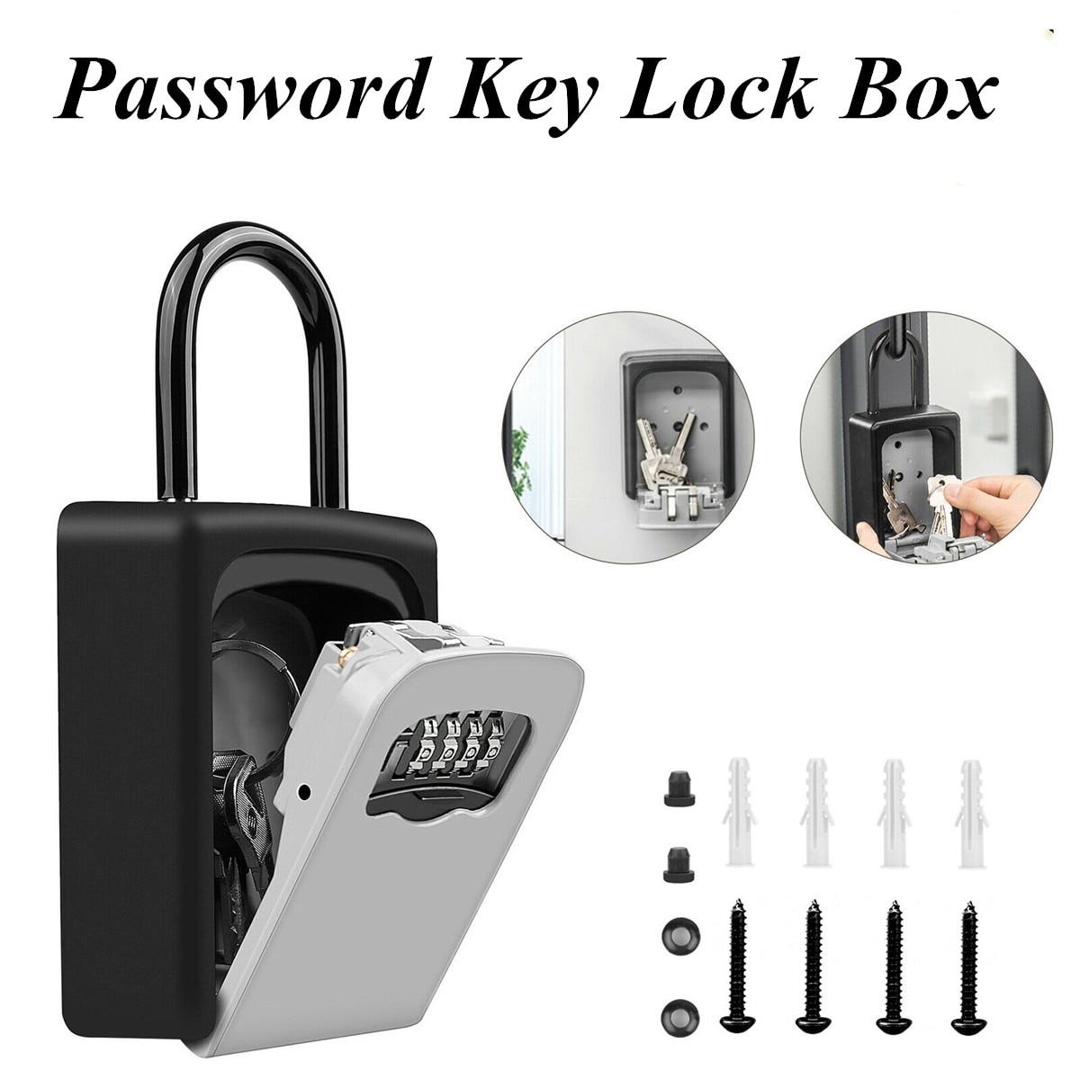 NEW 4 Digit Combination Key Storage Key Lock Box Wall Mounted Aluminum Alloy Key Safe Box Weatherproof Lock Box Outdoor