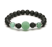 FYJS Unique Natural Green Aventurine Engraved Tree of Life Connect 8 mm Round Beads Black Lava Stone Elastic Bracelet