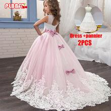 PLBBFZ Pink White First Bridesmaid Dress Girl Kids Dresses For Girls Children Pageant Party Wedding Princess Dress 3-14 Years