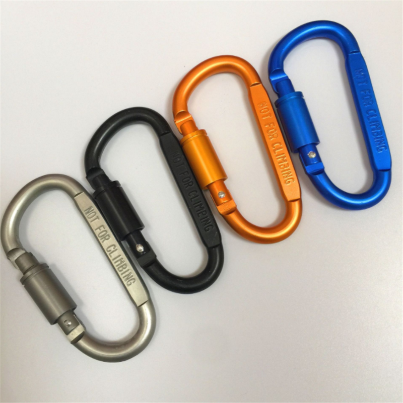 2PCS Carabiner D-Ring Key Chain Clip Hook Fast Hang Survival Aluminum Alloy