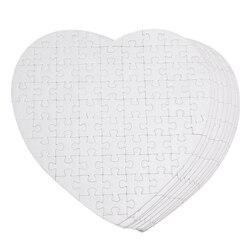 10 pièces Sublimation Puzzle blanc bricolage artisanat coeur Puzzle bricolage produits de transfert