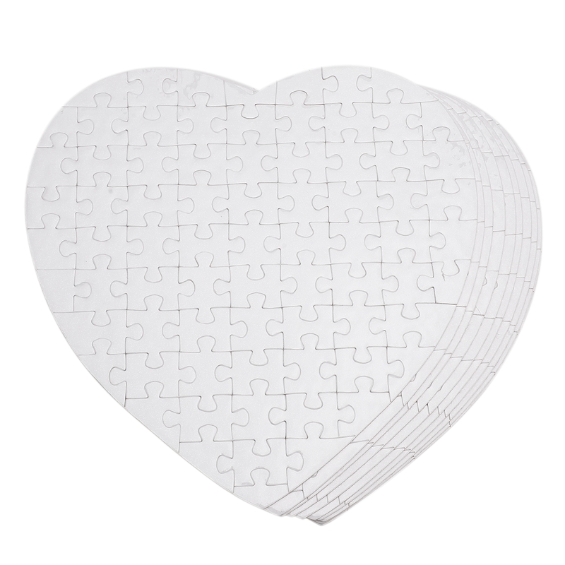 10Pcs Sublimation Blank Puzzle DIY Craft Heart Jigsaw Puzzle DIY Transfer Products
