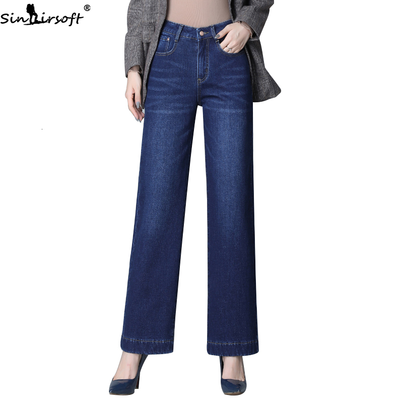 Wide-leg Jeans Woman Autumn And Winter Plus Velvet Thickening High Waist New Loose Stretch Large Size Straight Trousers Women