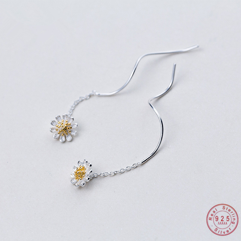 WANTME Genuine 100% 925 Sterling Silver Korean Cute Small Daisy Long Dangle Drop Earrings for Women Party Jewelry Gift Wholesale