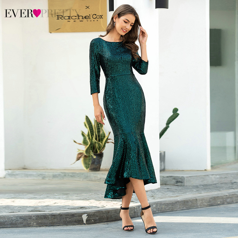 Sexy Mermaid Evening Dresses Ever Pretty EP00767DG Ruched Striped Sequined 3/4 Sleeve Sparkle Formal Dresses Vestido Longo 2020