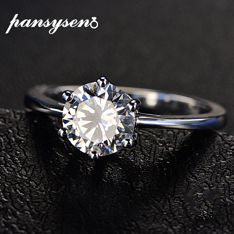 PANSYSEN Unique Round Cut CZ Wedding Engagement Rings For Women Genuine 925 Sterling Silver Fine Jewelry Ring Hotsale Party Gift