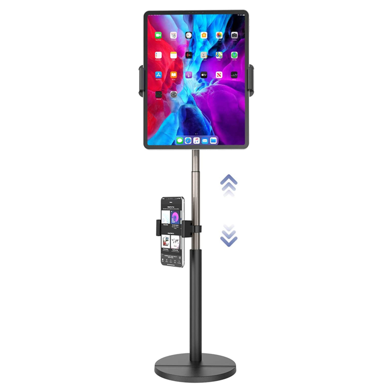 Tablet Stand Holder with Phone Mount, Height Adjustable Tablet & Phone Stand for Desk for iPad Holder Dock for iPad Pro Air