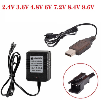 (SM-2P SM Plug) 2.4v 3.6v 4.8v 6v 7.2V 8.4v 9.6v 250mAh USB Charger For Ni-Cd Ni-MH Battery Pack Toys car boat tank Charger image
