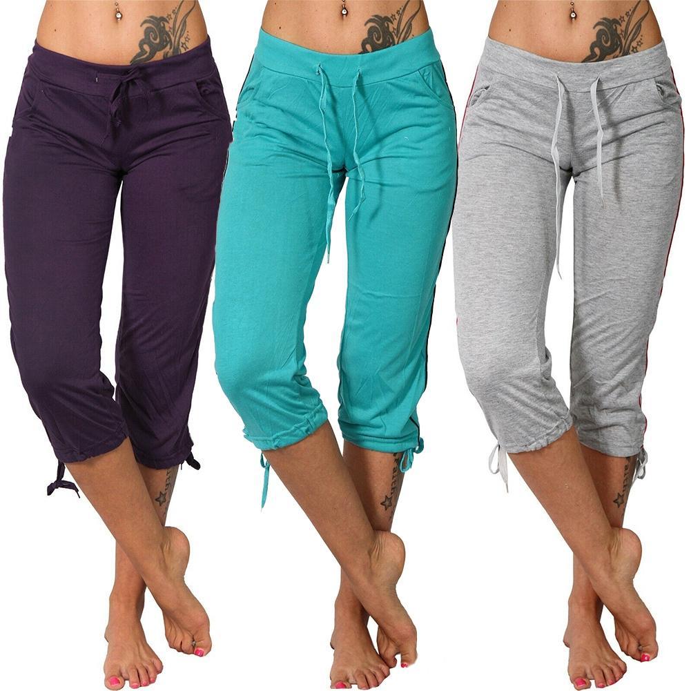 Women Ladies Pencil Pants Summer Women Mid Rise Pockets Capri Pants Cropped Trousers 3/4 Trousers Plus Size Female Capris 2020