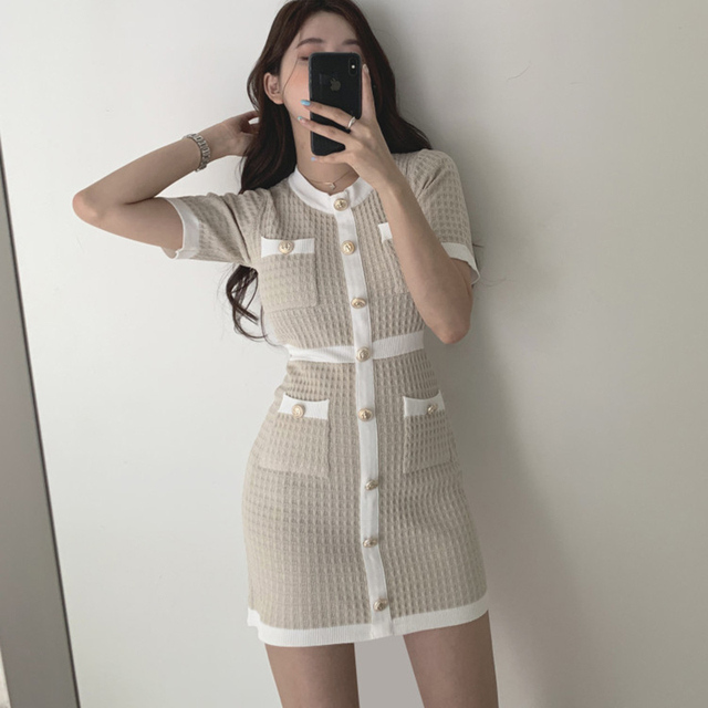 Button Knitted Dress Bodycon Mini Vestido club Korean Summer Sexy Party Elegant Black 2020 Casual Sweater Dress Robes Clothes 4