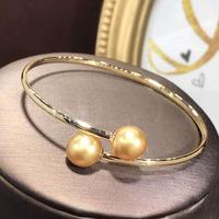 D331 Pearl Bangle Fine Jewelry Solid 18K Gold Natural 9 10mm Ocean Sea Golden Pearl Bangles for Women Presents