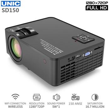 UNIC SD150 LED 6000 lumenów 1280 #215 720 rozdzielczość projektor 1080P Full HD HDMI WIFI gra film synchronizacja ekran LCD obiektyw kino domowe tanie i dobre opinie Instrukcja Korekta Projektor cyfrowy Ue wtyczka Us wtyczka Au plug Wtyczka uk 4 3 16 9 Focus 150Ansi ANDROID 1280x720 dpi