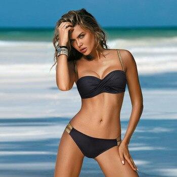 Push Up Sexy Bikini 2021 New Swimsuit Women Solid Bikinis Set Two Piece Swimwear Summer Beachwear Bathing Suit Brazilian Biquini