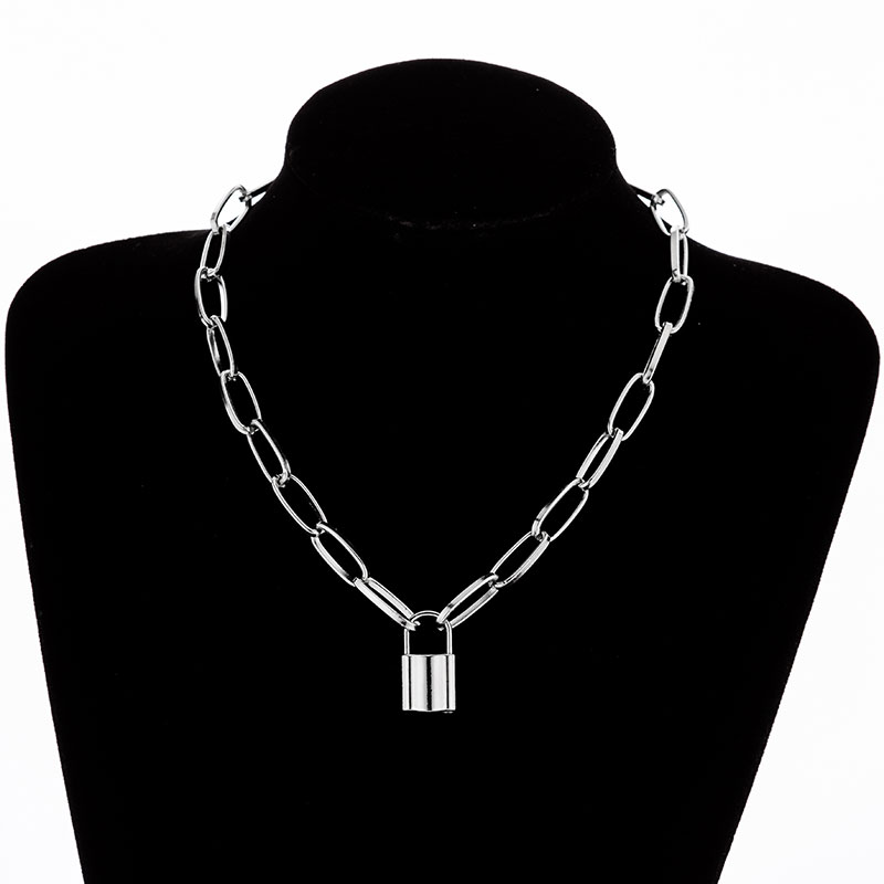 Hd35b89bd0e2a4a4982dfa02a4214641c2 - KMVEXO Multilayer Lock Chain Necklace Punk Padlock Key Pendant Necklace Women Girl Fashion Gothic Party Jewelry