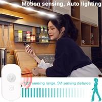 Sensor de movimiento luz nocturna LED PIR ropero tira de luz USB inalámbrico gabinete Led cinta de lámpara 2835 SMD armario escaleras Led iluminación
