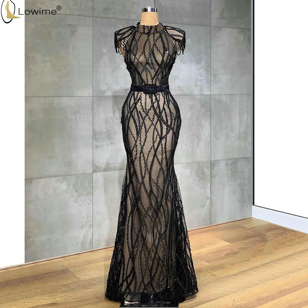 Vestido De Festa Black Lace Mermaid Evening Dresses High Neck Abendkleider Robes Dubai Prom Party Gowns