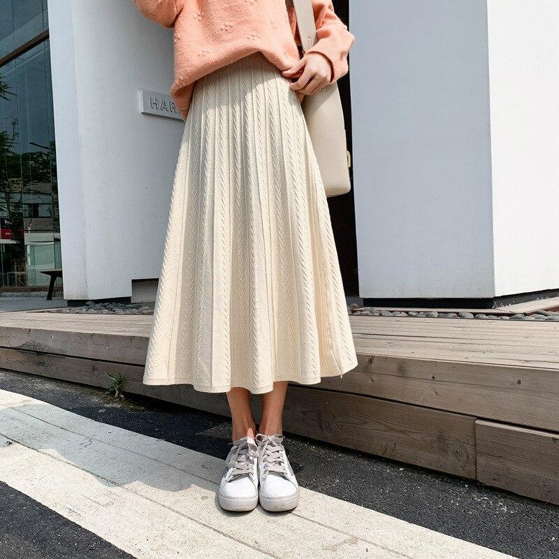 Photo Shoot Knitted Skirt Autumn And Winter High-waisted Mid-length A- Line Wool Skirt Hong Kong Flavor Longuette I Super Fire S