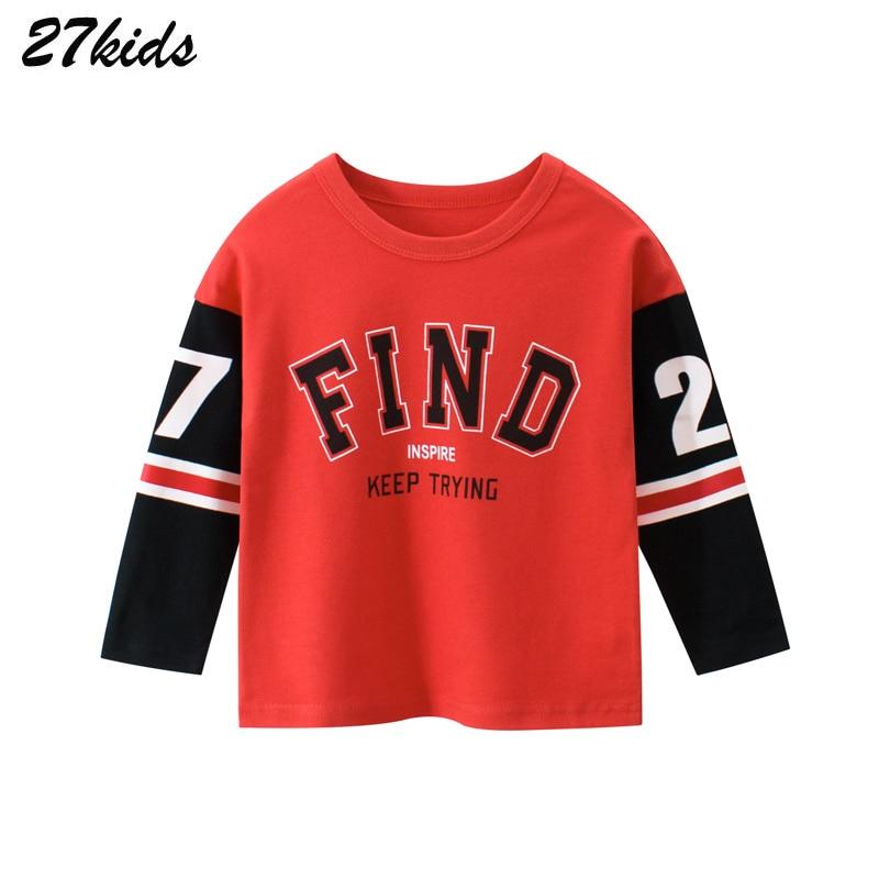 27kids Spring Boys Girls Cartoon Cotton Letter Print T Shirts Children Tees Boy Girl Long Sleeve T Shirts Kids Tops Boys Shirts