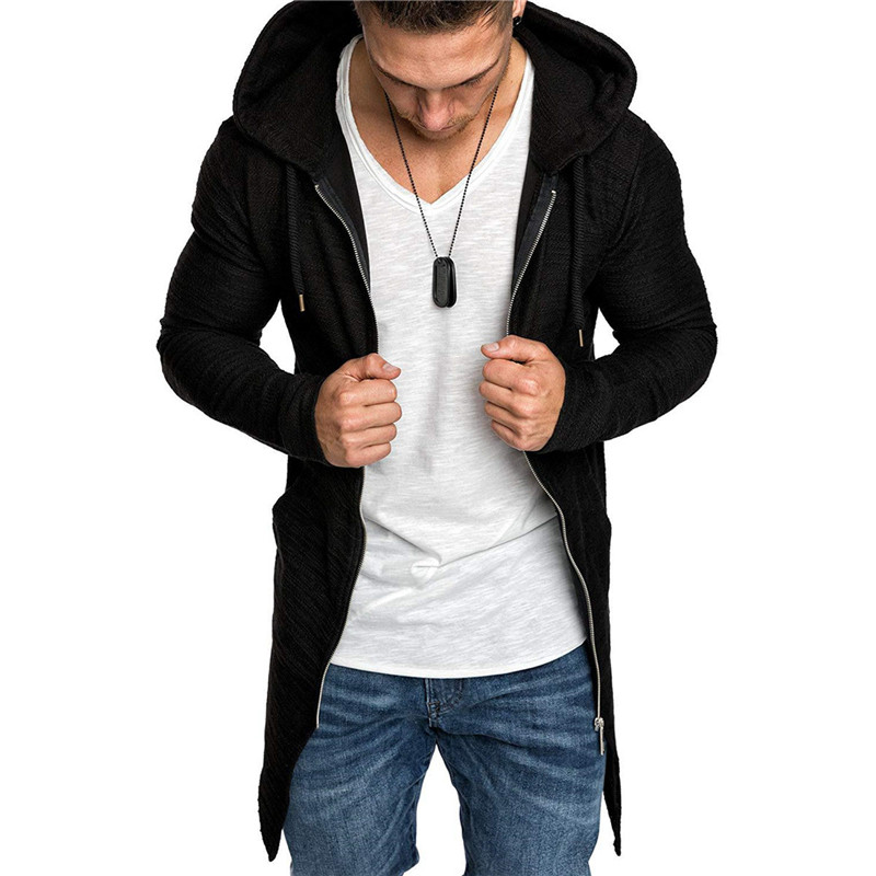 2019 Spring Autumn Men Hooded Trench Teen Casual Slim Solid Windbreaker Jacket Men Outwear Zipper Thin Coat Swallowtail Men Tops