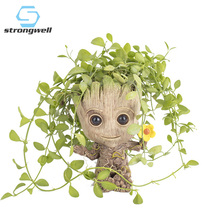 Strongwell Flower Pot Baby Groot  Big Cute Toy Pen Holder PVC Hero Model Tree Man Garden Plant