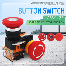 1PCS LA38-11ZS Self-Locking 22mm Emergency Power Push Button Switchstop Mushroom Head Emergency Stop Button Switch 1pcs e stop push button switch emergency stop 1no1nc red mushroom head self locking waterproof push button switch with led light