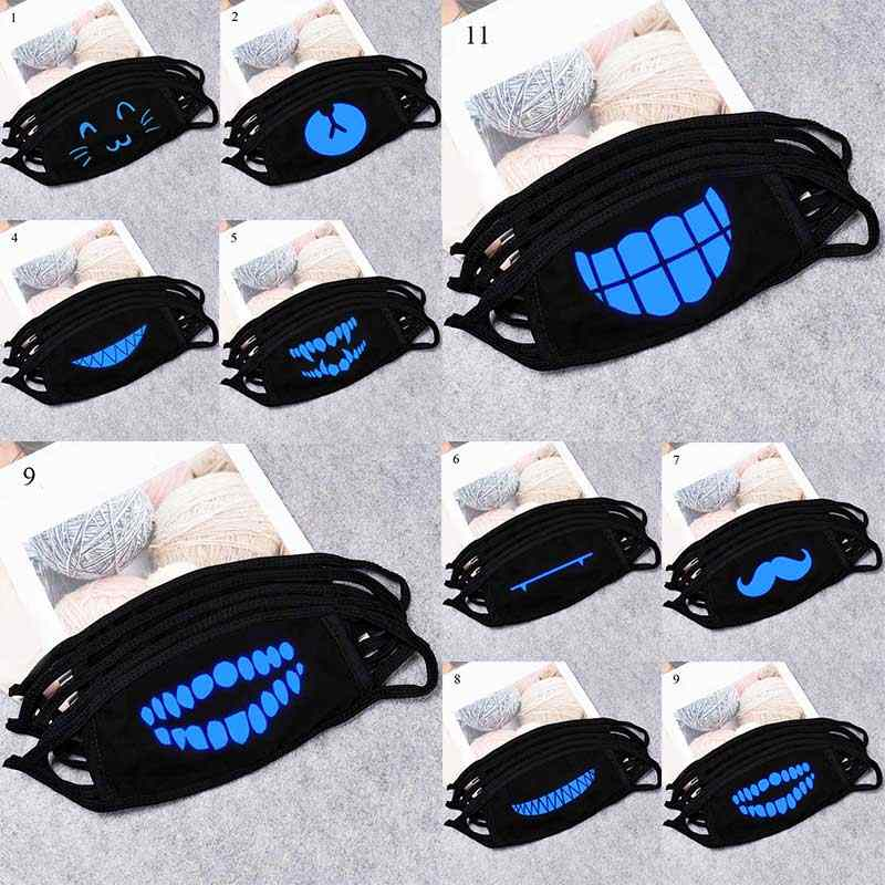 Cotton Dustproof Cartoon Printed Unisex Glow In Dark Skull Mouth Mask Fashion Windprof Black Mouth Mask Wholesale