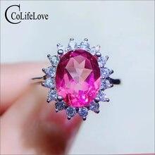 Кольцо из серебра 925 пробы с розовым топазом 7 мм х 9