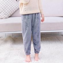 Детская Пижама для мальчиков и девочек, теплые штаны, удобная мягкая фланелевая одежда с вышивкой в Корейском стиле, популярная одежда на осень и зиму