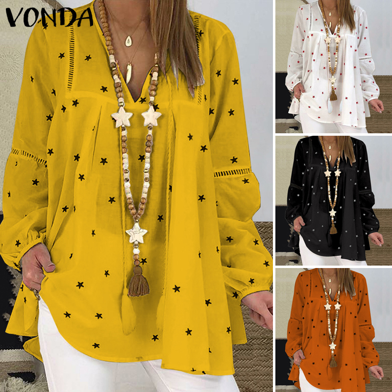 Plus Size Blouse Women VONDA 2020 Vintage V Neck Star Printed Tops Autumn Long Lantern Sleeve Shirts Beach Casual Party Blusas