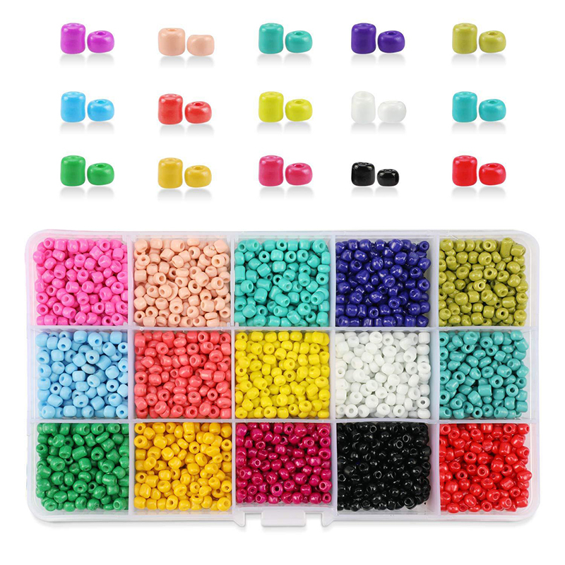 4MM 24 Grid Multi-Color Loose Glass Rice Beads Belt Box Set DIY Handmade Weaving Bracelet Necklace Jewelry Making Beads Toys