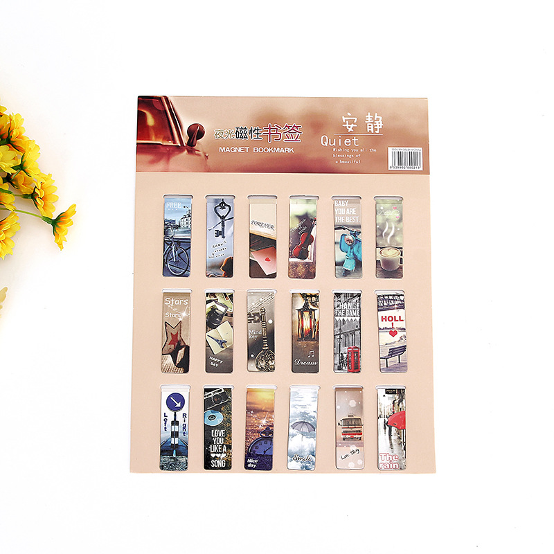 Cute Cartoon Magnetic Luminous Bookmark Korean-Style Creative Stationery Gift Page Partition Book Holder Gift