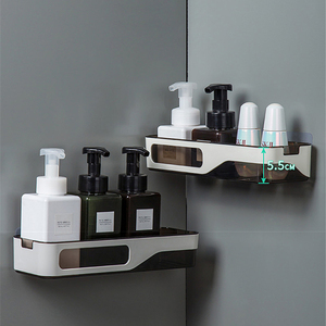 Image 2 - Wall Mounted Bathroom Organizer Shelf Cosmetic Shampoo Storage Rack Kitchen Plastic Holder Household Items Bathroom Accessories