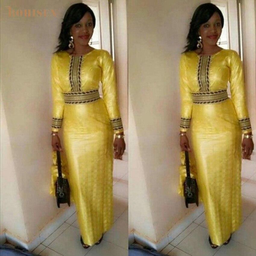 BOHISEN African Dresses For Women Dashiki 2019 New African Clothes Bazin Riche Ankara Dresses Long Sleeve Lattice Robe Africain
