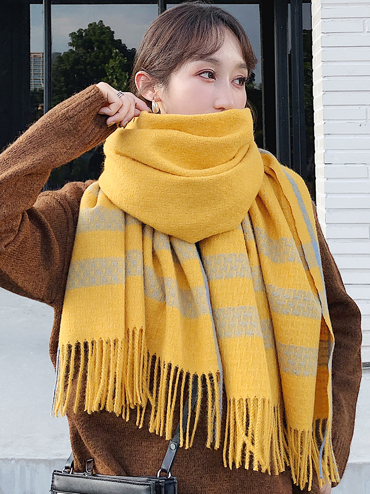 Brand Autumn  Winter Scarf Women Scarf Knitting Versatile Thickened Warm Shawl Dual Purpose Korean Department Leisure Female Bib